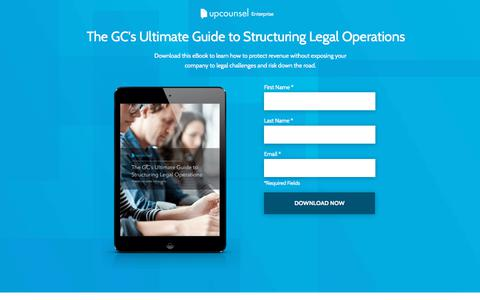 Screenshot of Landing Page upcounsel.com - The Ultimate Guide to Structuring Legal Operations - captured March 27, 2018