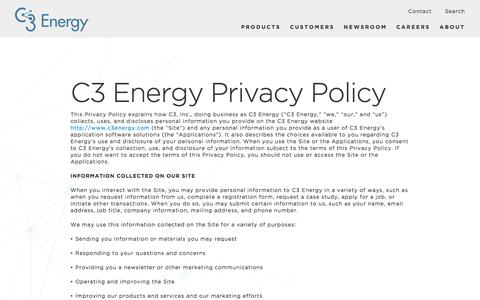 C3 Energy Privacy Policy - C3 Energy