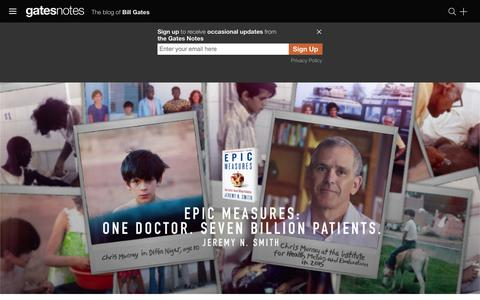 Screenshot of Home Page gatesnotes.com - The Brilliant Doctor Behind My Favorite Obscure Website | Bill Gates - captured Oct. 2, 2015