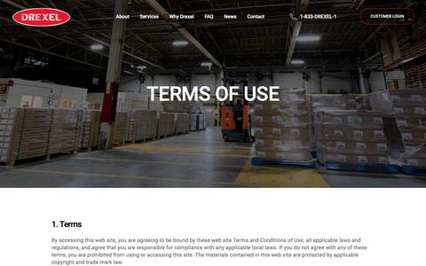 Screenshot of Terms Page drexel.ca - Terms of Use   Drexel Industries - captured Oct. 9, 2018