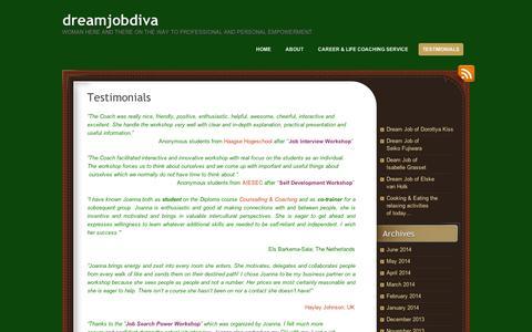 Screenshot of Testimonials Page wordpress.com - Testimonials  | dreamjobdiva - captured Sept. 12, 2014