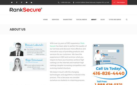 Screenshot of About Page ranksecure.ca - About Rank Secure | Online Marketing & Website Design Toronto, Ontario - captured Oct. 20, 2018