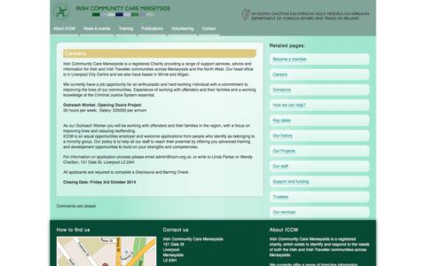 Screenshot of Jobs Page iccm.org.uk - Careers | Irish Community Care Merseyside - captured Nov. 3, 2014