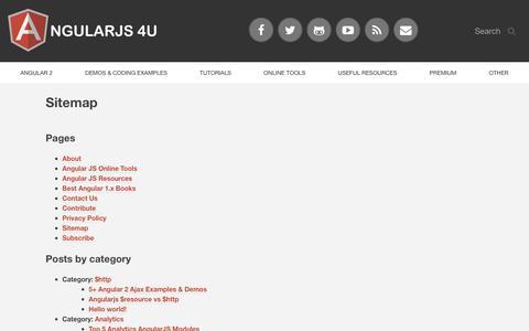 Screenshot of Site Map Page angularjs4u.com - Sitemap | AngularJS 4U - captured Sept. 23, 2018