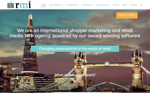 Screenshot of Home Page rmi.co - rmi - International Shopper Marketing Agency - captured Feb. 25, 2016