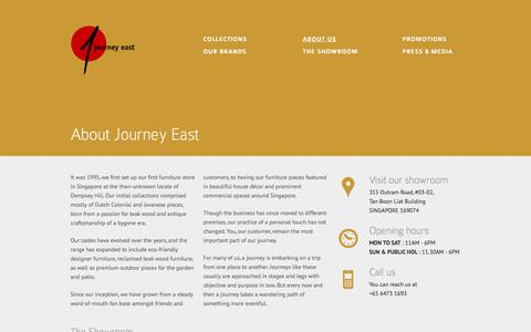 Screenshot of About Page journeyeast.com - About Journey East | Passion for teak wood and antique craftsmanship - captured Sept. 30, 2014