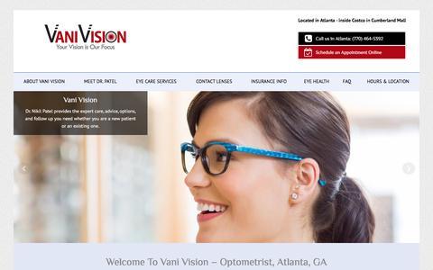 Screenshot of Home Page vanivision.com - Vani Vision | Optometrist in Cumberland Mall Costco - Atlanta - captured June 17, 2017