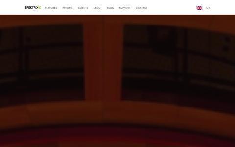 Screenshot of Home Page spektrix.com - Spektrix - captured Jan. 11, 2016