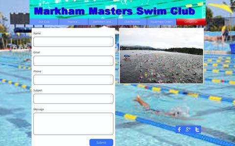 Screenshot of Contact Page markhammastersswimclub.org - CONTACT - captured Feb. 20, 2018