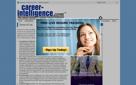 Screenshot of Terms Page career-intelligence.com - Terms of Use - Career Intelligence - captured Jan. 23, 2016