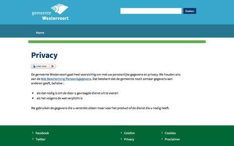 Screenshot of Privacy Page westervoort.nl - Privacy   Gemeente Westervoort - captured Nov. 4, 2016