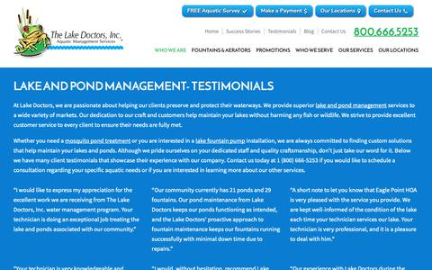 Screenshot of Testimonials Page lakedoctors.com - Testimonials | Lake and Pond Management | LakeDoctors.com - captured Oct. 20, 2018