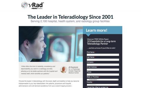 Screenshot of Landing Page vrad.com captured Dec. 11, 2016