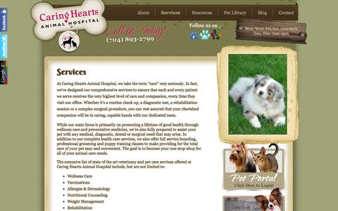 Screenshot of Services Page caringheartsveterinarian.com - Services | Caring Hearts Animal Hospital - captured Oct. 1, 2014