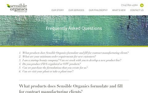 Screenshot of FAQ Page sensibleorganics.us - FAQs About Our Animal-Cruelty Free Cosmetics & Body Scrubs | Sensible Organics - captured Oct. 7, 2014