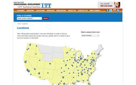 Screenshot of Locations Page itt-tech.edu - The Center for Professional Development @ ITT Tech - captured Sept. 18, 2014