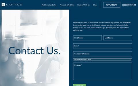 Screenshot of Contact Page kapitus.com - Contact Us - Kapitus - captured March 23, 2019