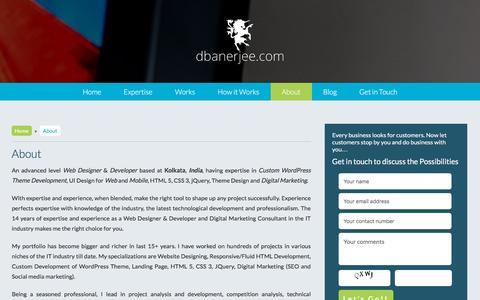 Screenshot of About Page dbanerjee.com - Responsive Web Designer Kolkata | WordPress Designer India - captured Nov. 26, 2015