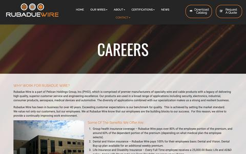Screenshot of Jobs Page rubadue.com - Careers - Work At An Industry-Leading Wire And Cable Manufacturer | Rubadue Wire - captured May 30, 2019