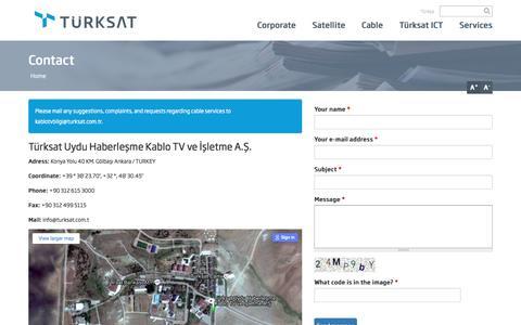 Screenshot of Contact Page turksat.com.tr - Contact | Türksat Uydu Haberleşme Kablo TV ve İşletme A.Ş. - captured Sept. 7, 2016
