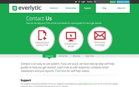 Screenshot of Contact Page Support Page everlytic.co.za - Our Contact Information | Everlytic - captured Oct. 22, 2014