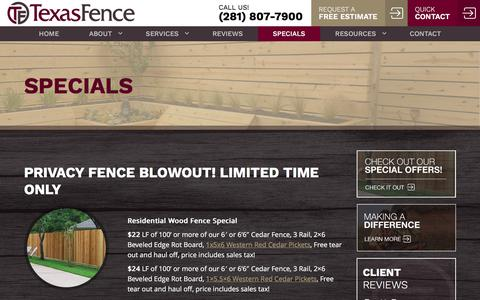 Screenshot of Signup Page texasfenceco.com - Texas Fence Special Offers | Texas Fence, Houston TX - captured June 13, 2017