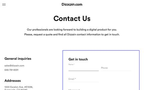 Screenshot of Contact Page dizzain.com - Dizzain Contact Information - captured July 25, 2019