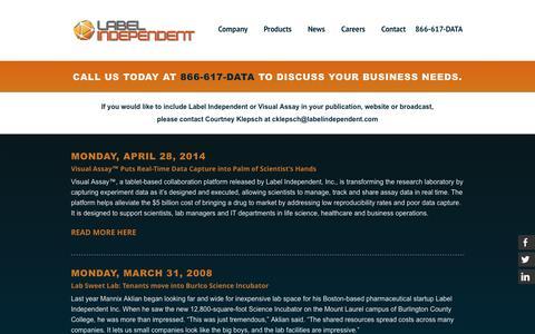 Screenshot of Press Page labelindependent.com - News — Label Independent, Inc. - captured Oct. 1, 2014