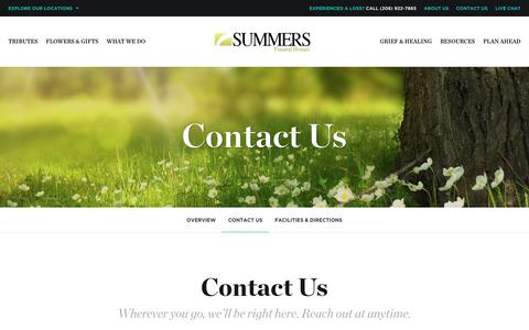 Screenshot of Contact Page summersfuneral.com - Contact Us | Summers Funeral Homes - Boise, ID - captured Nov. 4, 2017