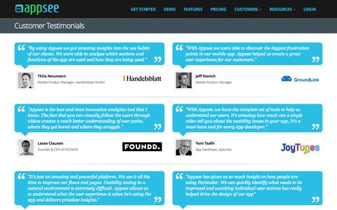 Screenshot of Testimonials Page appsee.com - Customer Testimonials | Appsee - captured Dec. 17, 2014