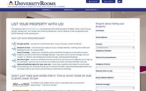 Screenshot of Signup Page universityrooms.com - UniversityRooms | List your university or student residence - captured Sept. 20, 2018
