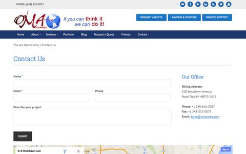 Screenshot of Contact Page omacomp.com - Contact US – OMA Comp - captured Oct. 26, 2014