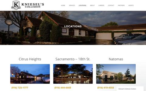 Screenshot of Locations Page kniesels.com - Kniesel's Collision |   Locations - captured Nov. 27, 2016
