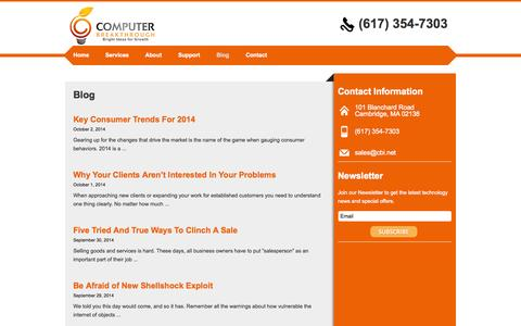 Screenshot of Blog cbi.net - Blog | Computer Breakthrough - captured Oct. 2, 2014