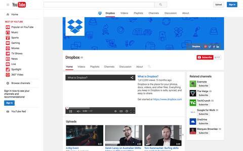 Screenshot of YouTube Page youtube.com - Dropbox  - YouTube - captured Nov. 16, 2015