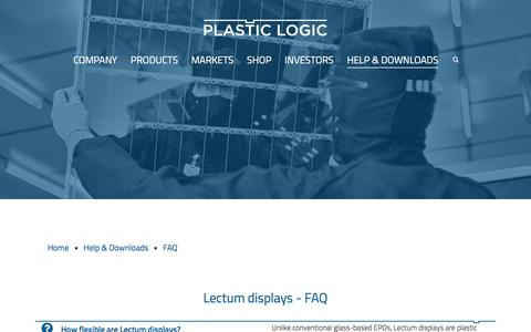 Screenshot of FAQ Page plasticlogic.com - FAQ – Plastic Logic - captured July 13, 2018