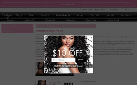 Screenshot of Pricing Page indiquehair.com - Hair Extensions Price - captured Sept. 23, 2018