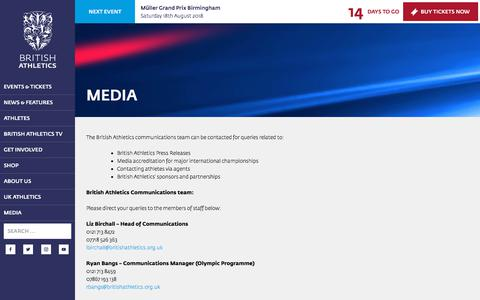 Screenshot of Press Page britishathletics.org.uk - Media | British Athletics - captured Aug. 4, 2018