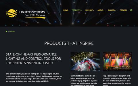 Screenshot of Products Page highend.com - Products - captured Sept. 28, 2018