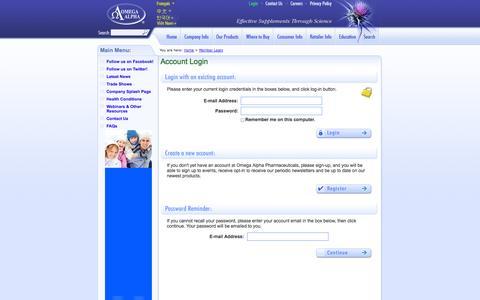 Screenshot of Login Page omegaalpha.ca - Omega Alpha Pharmaceuticals - Member Login - captured Oct. 26, 2014