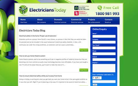 Screenshot of Blog electricianstoday.com.au - Melbourne Electrical Services Blog | Electricians Today - captured Sept. 29, 2014
