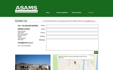 Screenshot of Contact Page asams.co.uk - ASAMS Limited| Contact| Great Yarmouth - captured Nov. 19, 2016
