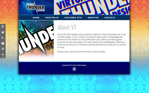 Screenshot of Home Page virtualthunderweb.com - Virtual Thunder Design - Website Designs -  Graphic Design - captured Feb. 3, 2018