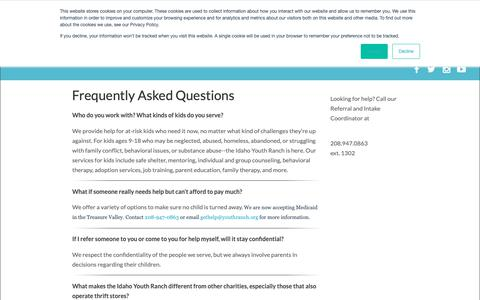 Screenshot of FAQ Page youthranch.org - FAQ - captured Oct. 11, 2018