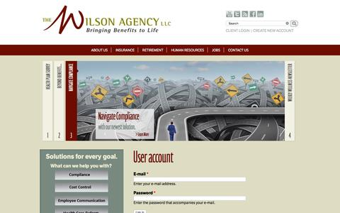 Screenshot of Login Page thewilsonagency.com - User account | The Wilson Agency - captured Jan. 12, 2016