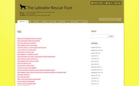Screenshot of FAQ Page labrador-rescue.com - FAQS - Labrador Rescue Trust | Rescue and Rehoming LabradorsLabrador Rescue Trust | Rescue and Rehoming Labradors - captured Nov. 5, 2014