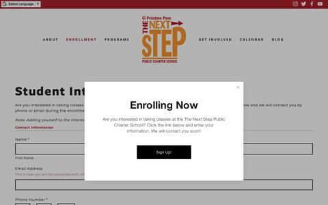 Screenshot of Signup Page nextsteppcs.org - Student Interest List — The Next Step Public Charter School - captured Dec. 21, 2018