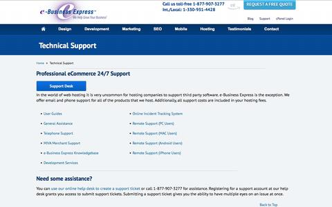 Screenshot of Support Page e-businessexpress.com - Technical Support | Website Support | Free Tech Support | e-Business Express Technical Support - captured Sept. 23, 2014