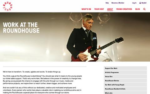 Screenshot of Jobs Page roundhouse.org.uk - Work at the Roundhouse - captured Feb. 21, 2019