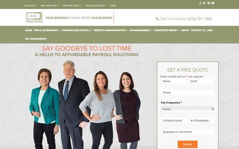 Screenshot of Home Page flexchecks.com - Payroll Service- Grand Rapids & Detroit, MI   FlexChecks - captured Oct. 10, 2018